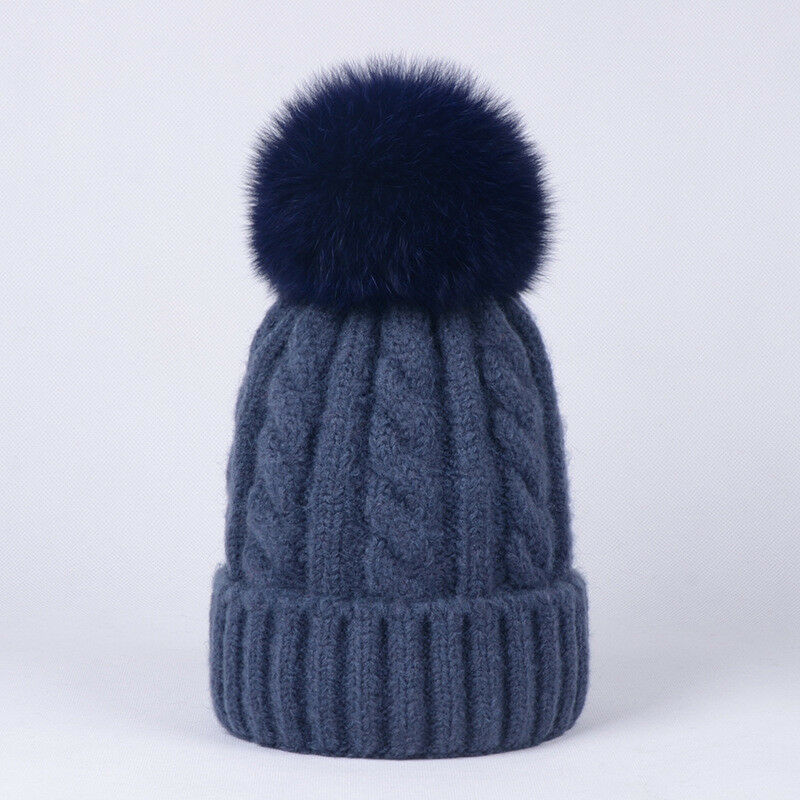 da9f1d0da Details about Women Cashmere Blend Knit Beanie Hat with Real Fox Fur Pompom  Ears Winter Cap