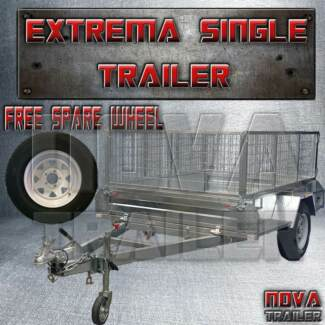 8x5 extreme heavy duty braked cage galvanized new trailer