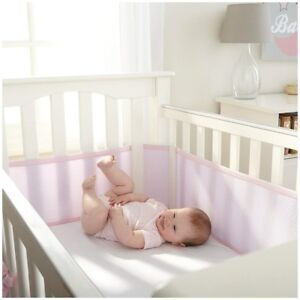 New Deluxe Breathable Mesh Crib Liner Pink/White/Grey