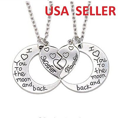 Mother Daughter Necklaces (2 Pc Mother Daughter I Love You to the Moon and Back Hearts Pendant)