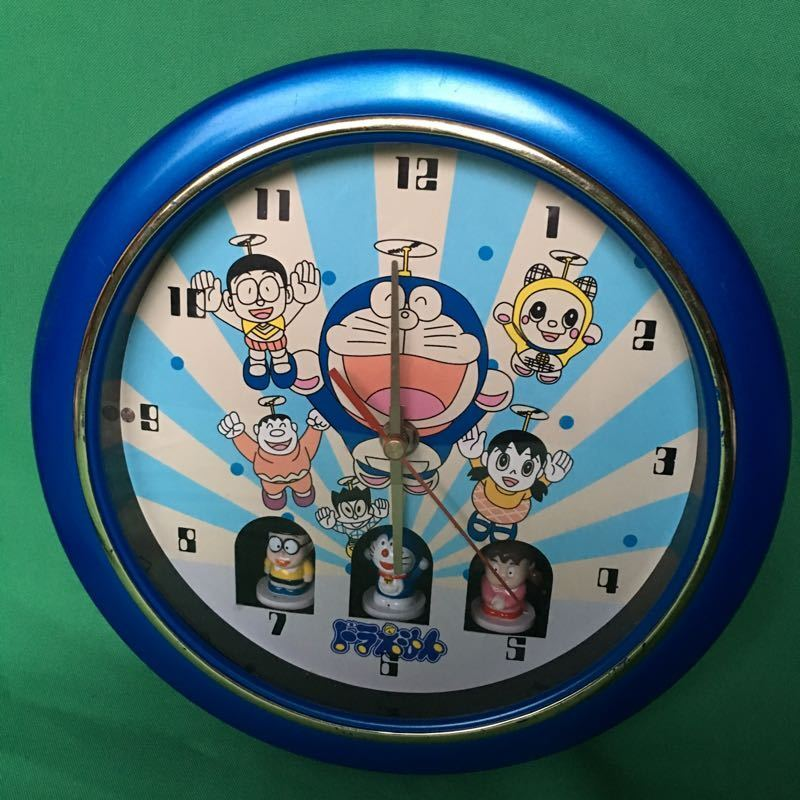RARE Japanese Cartoon Doraemon Nobita Figurine Wall Clock Collectible Decor