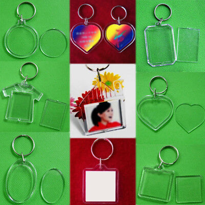 Clear Keychain (2x Acrylic Transparent Photo Picture Frame Keyring Keychain Key Ring)