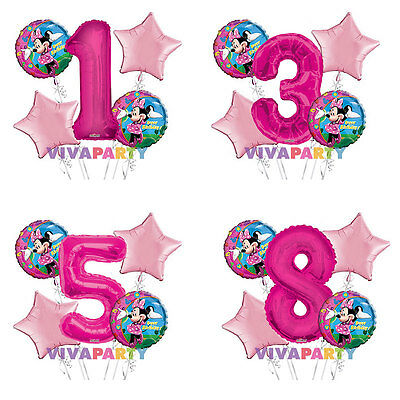 Minnie Mouse Happy Birthday 1-9 Balloon Bouquet 5 pcs Girls Birthday Party - Balloon Minnie Mouse