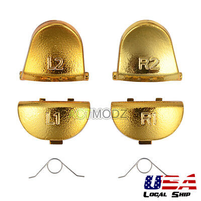 Customized Buttons Mod Kits R1 L1 R2 L2 Triggers for PS4 Controller Chrome Gold
