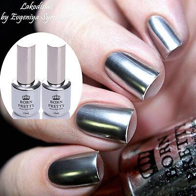 2Pcs 15ML Nail Mirror Effect Metallic Silver Polish Nail Art Varnish & Base Coat