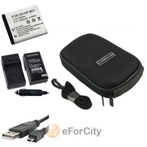 NP-BK1 CHARGER+BATTERY+CABLE+CASE FOR SONY DSC-W190 DSC-W370 W180 S780 S980 S750