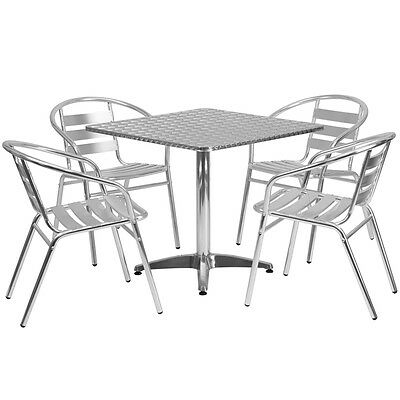 31.5 Square Aluminum Indoor-outdoor Restaurant Table With 4 Slat Back Chairs