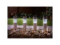 Stainless Steel Mini Tube Post Lights 6pk - White