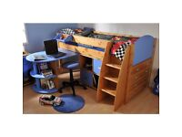 Designer Boys single bed and mattress with sliding desk and secret storage (£1250 new) BrandSTOMPA