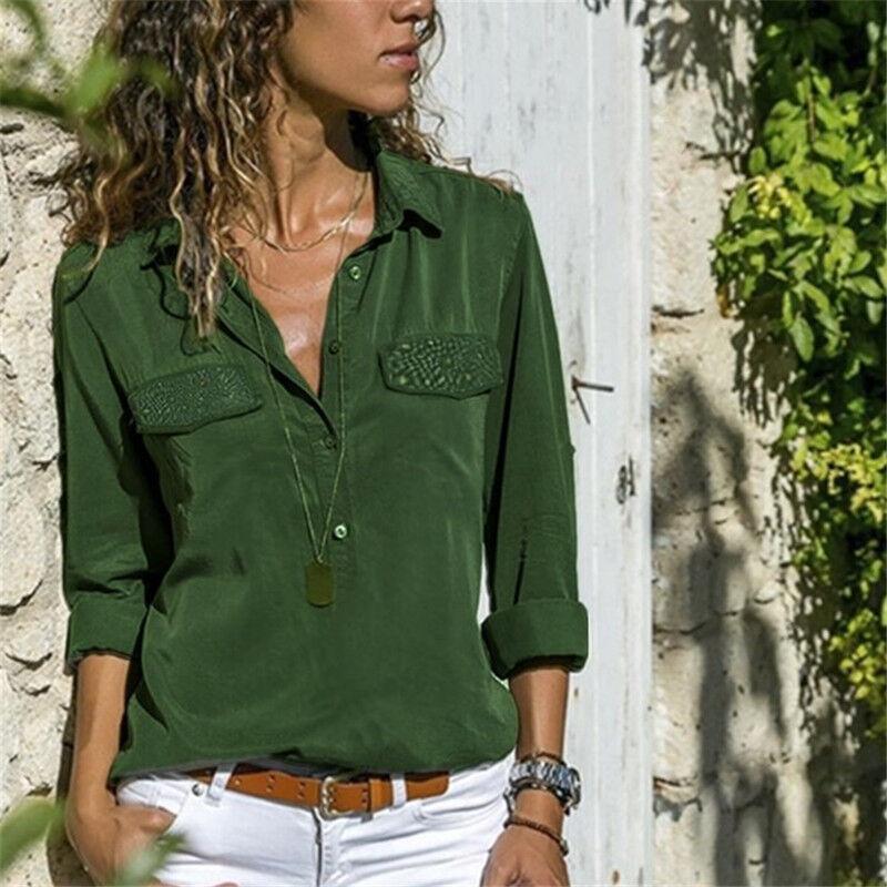 Damen Paillette Bluse Langarmshirt Hemd Blusen Arbeit Aufrollen Shirts Oberteile