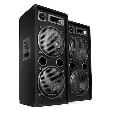 "PAAR DJ PA LAUTSPRECHER STUDIO PARTY SÄULEN BOXEN 2x 12"" (30CM) SUBWOOFER 2000W"