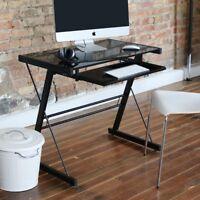 Walker Edison Glass Metal Black Computer Desk