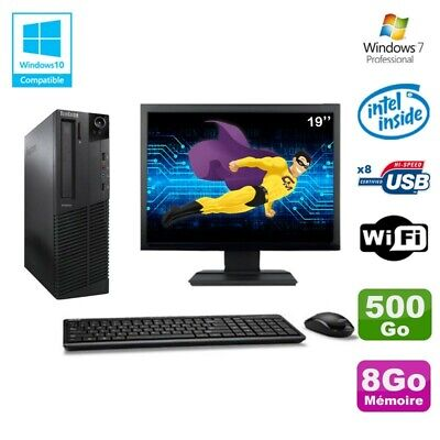 Lot PC Lenovo M91p 7005 SFF G630 2,7Ghz 8Go 500Go WIFI W7 Pro + Ecran 19