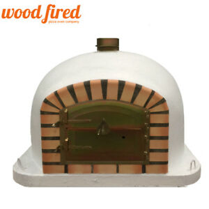 brick outdoor wood fired Pizza oven 100cm white Deluxe model