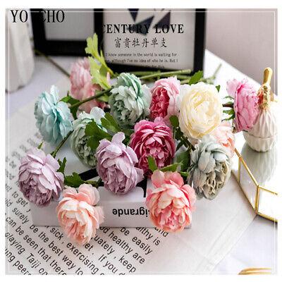 Fake White Roses (Rose Artificial Flowers White Silk Fake Peony Wedding Wall Indoor Home DIY)