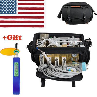 4 H Portable Dental Turbine Unit Bag Compressor Suction Triplex Syringe Curing