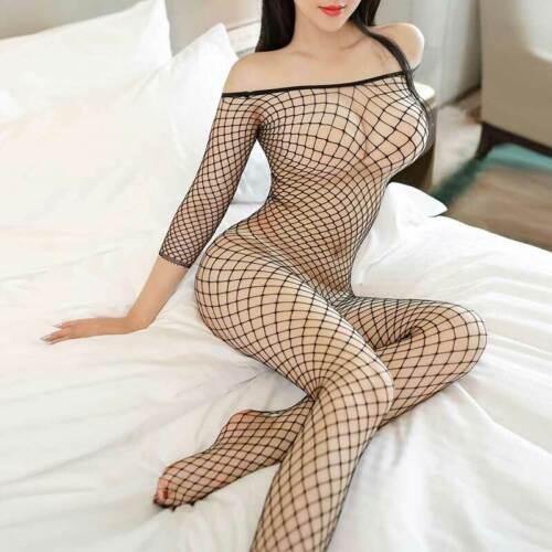 Frauen Sexy-Dessous Nachtwäsche Kleid Babydoll G-String Unterwäsche Fischnetz im