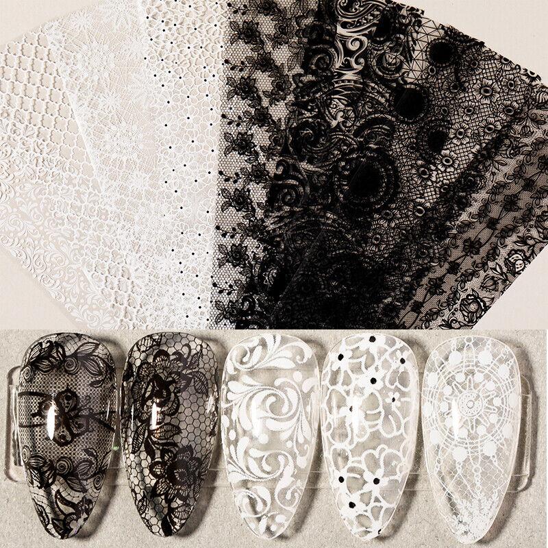 10Pcs/Set Nail Foil Stickers Black White Lace Flowers Transf