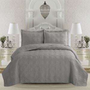 New King Quilt Cover Set with Shams Grey