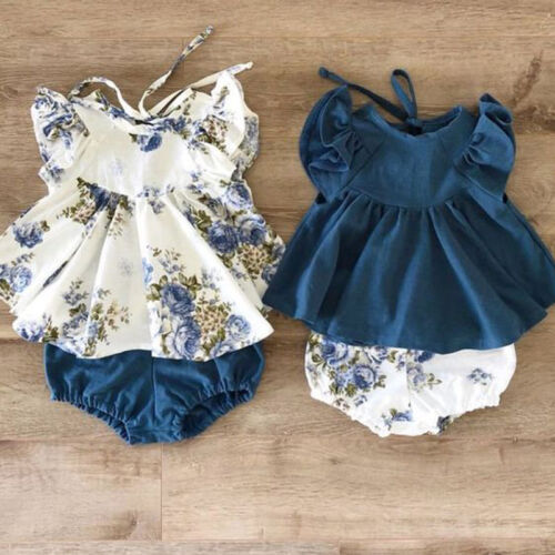 USA Newborn Infant Kids Baby Girl Floral Tops Dress Shorts P