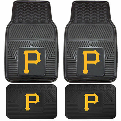 MLB PITTSBURGH PIRATES 4 PIECES HEAVY DUTY RUBBER FLOOR MATS SET CAR VAN TRUCK