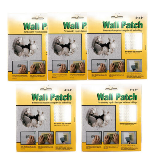 """5 Pack Drywall Repair WallPatch Self Adhesive Wall Repair Patch 4""""x4"""" Hole Patch"""
