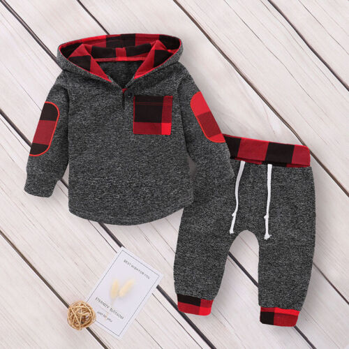 Baby Boys Toddler Hooded Tops T Shirt Long Pants Tracksuit O