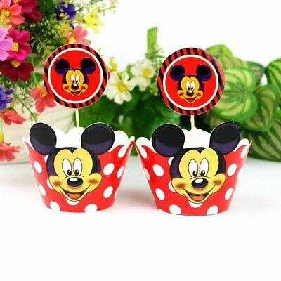 24pcs Mickey Mouse Party Paper Cupcake Wrappers Toppers For Kids Party Birthday - Mickey Mouse For Birthday Party