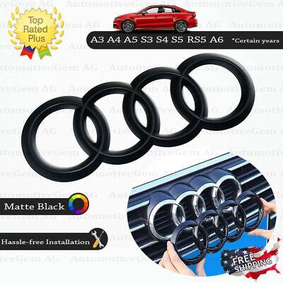 AUDI Front Grille Ring Emblem Cover Matte Black Badge Logo A3 A4 A5 S3 S4 RS5 A6