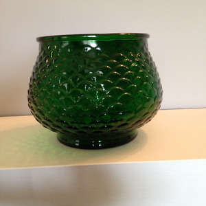 E.O. Brody Co. Mid century pressed green glass bowl G100