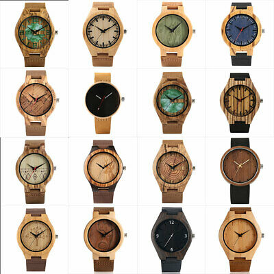 2019 Wooden Men's Watch Wood Quartz Watch Casual Natural Handmade Wristwatches