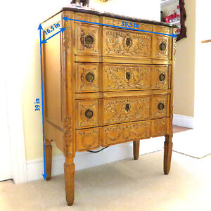 3 Drawer Carved Antique Gold Chest West Island Greater Montréal image 4