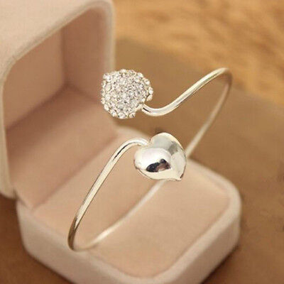Fashion Crystal Love Heart Women Silver Plated Bangle Cuff Bracelet Jewelry