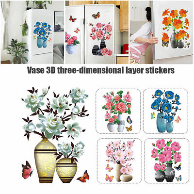 Home Decoration - Wall Stickers Flowers DIY Plant Vase 3D Stere Self Adhesive Decor for Home Room