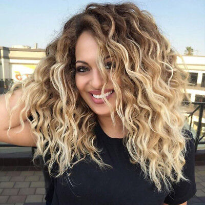 Women Blonde Short Curly Wig Synthetic Wavy Synthetic Hair Heat Resistant Wig