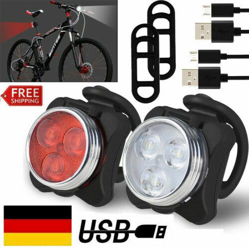 Vorne /& Hinten 3 LED Fahrrad Sicherheit Wasserfest Licht Set Rücklicht Blinkende