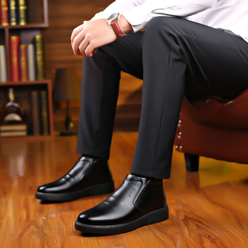 Mens Work Business Fur Inside Warm Chukka New Black High Top Ankle Boots Shoes L