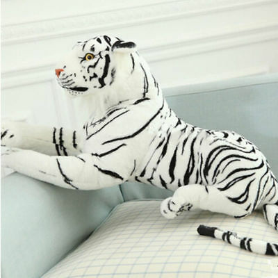 24'' Tiger Plush Animal Realistic Big White Tiger Hairy Soft Stuffed Toy Pillow - White Tiger Plush