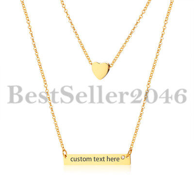 Girls Personalized (Personalized Women Girls Heart Charm Horizontal Name Bar Necklace Adj)