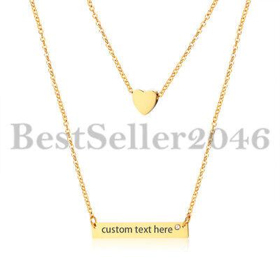 Personalized Women Girls Heart Charm Horizontal Name Bar Necklace Adj 14