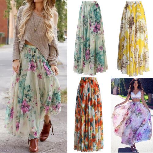 Sommer Chiffon BOHO Damen Floral Jersey Gypsy Long Maxi Rock Strand Sun Kleid