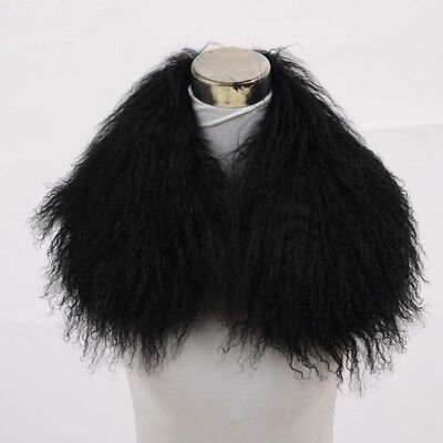 Wonderful Farm (Black Real Wonderful Farm mongolian lamb fur collar /scarf Black 55cm/21.6