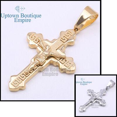 05 Men's Stainless Steel Gold Silver Greek Key Jesus Cross -