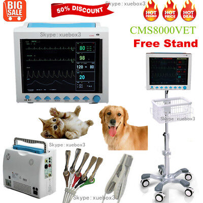 Vital Signs Veterinary Patient Monitor 6 Parameter Icuccurolling Stand Cartus