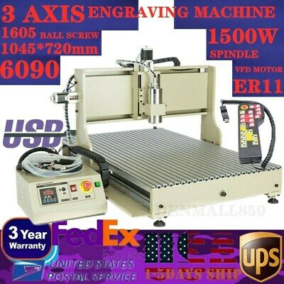 Usb 3axis Cnc 6090 Router Engraver Metal Milling Cutting Machine 1.5kwhandwheel