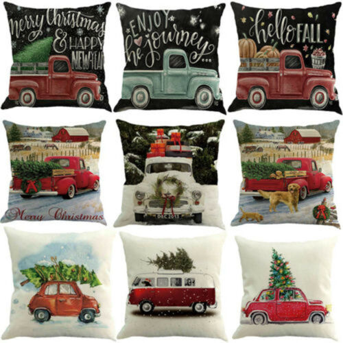 Christmas Car Tree Printing Sofa Bed Home Decor Pillow Case