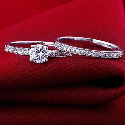 Women Engagement Wedding 2Pcs Set Cubic Zirconia Silver Plated Ring Jewelry 2 Ring Wedding Set