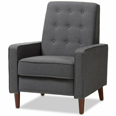 mathias tufted recliner in gray and walnut