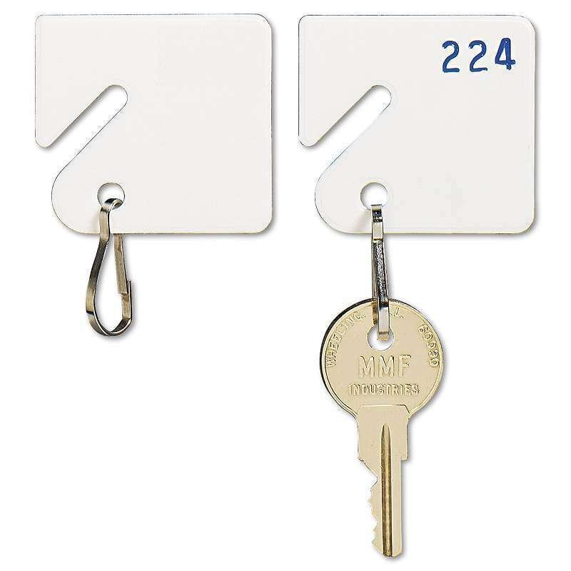 SteelMaster® Slotted Rack Key Tags, Plastic, 1 1/2 x 1 1/2, White 078541303065