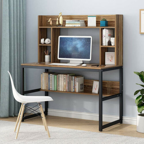 Fuctional Computer Desk with Bookshelves Simple Study Writing Table Home Office